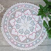 Для дома и интерьера handmade. Livemaster - original item Decorative napkins: Knitted napkin with beads Hearts. Handmade.