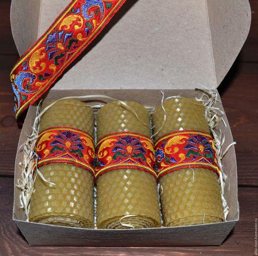 Свечи ручной работы. Ярмарка Мастеров - ручная работа. Купить Русские узоры - набор медовых свечей из вощины. Handmade.