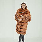handmade. Livemaster - original item Fox fur coat of shade of coral. Handmade.
