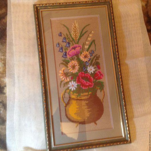Картины цветов ручной работы. Ярмарка Мастеров - ручная работа. Купить Цветы в горшке. Handmade. Комбинированный, картина вышитая