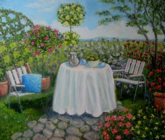 """Картины цветов ручной работы. Ярмарка Мастеров - ручная работа. Купить Картина """"Нескучный сад"""". Handmade. Картина, картина маслом"""