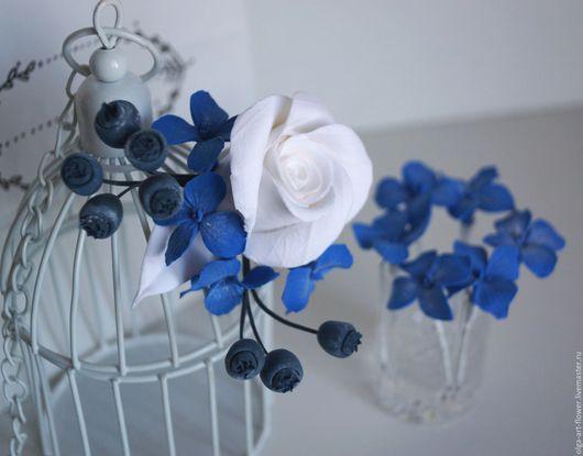 Свадебные украшения ручной работы. Ярмарка Мастеров - ручная работа. Купить Свадебный комплект с Розой, гортензиями, ягодами голубики. Handmade.