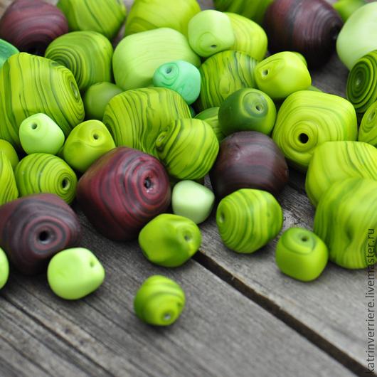 """Для украшений ручной работы. Ярмарка Мастеров - ручная работа. Купить Полые бусины-камешки """"Кофе"""". Handmade. Зеленый, кофе"""