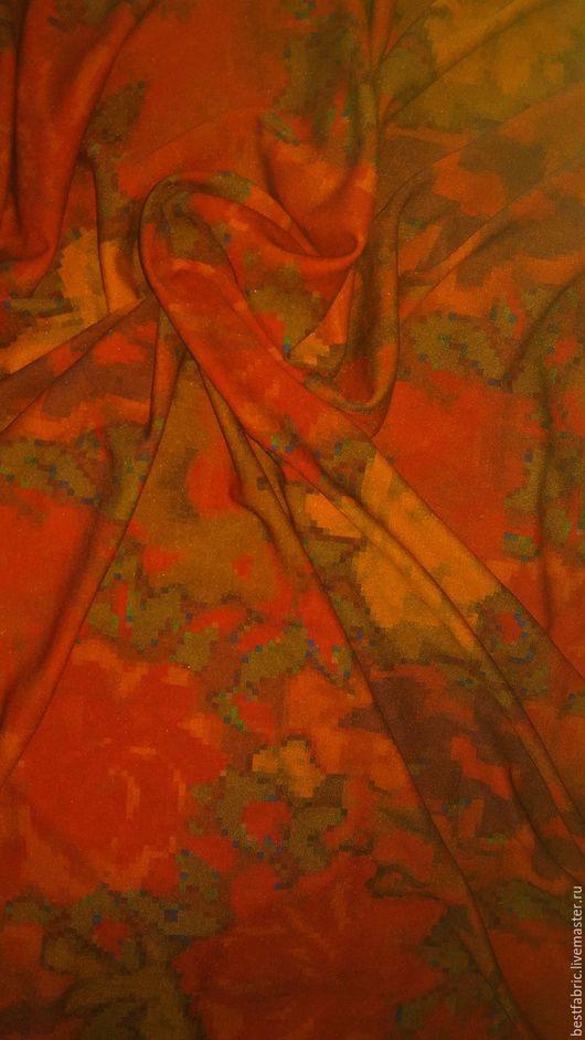 шелковый трикотаж, именной сток, Италия шелк + эл  шир. 140 см, отрез 1.7 м цена 3000 р/м , за отрез -5000 р средней толщины, легкий, пластичный, `текучий` , шелковистый, в цветах осени