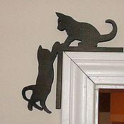 Слова ручной работы. Ярмарка Мастеров - ручная работа Силуэт кошек на дверной косяк или окно. Handmade.