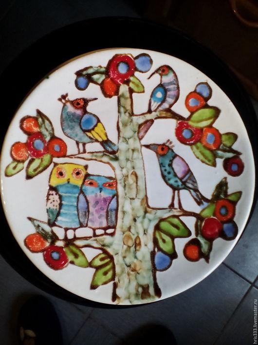 """Тарелки ручной работы. Ярмарка Мастеров - ручная работа. Купить Керамическая тарелка """" Дерево счастья -2"""". Handmade. Розовый"""