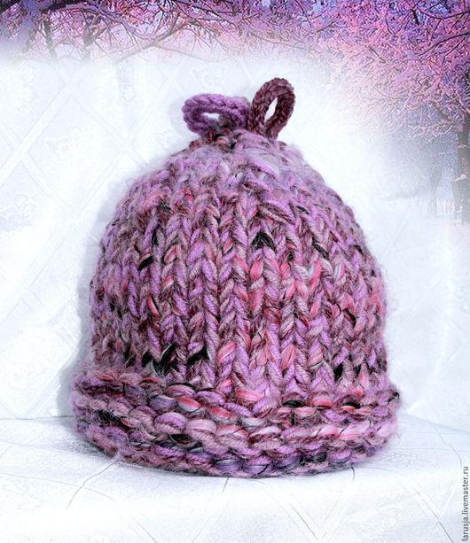 Шапки ручной работы. Ярмарка Мастеров - ручная работа. Купить Меланжевая шапка из толстой пряжи «Желудь». Handmade. Брусничный, зима