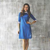 Одежда ручной работы. Ярмарка Мастеров - ручная работа Последний р-р-44!Синее платье-трапеция с белым воротничком и манжетами. Handmade.