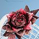 """Броши ручной работы. Роза """"Tramonto"""". Натуральный шелк. 'Poli-Flower'   (Надежда). Ярмарка Мастеров. Подарок девушке, подарок женщине"""