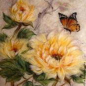 Картины и панно handmade. Livemaster - original item Pattern wool Yellow Chinese peonies and butterfly 3. Handmade.