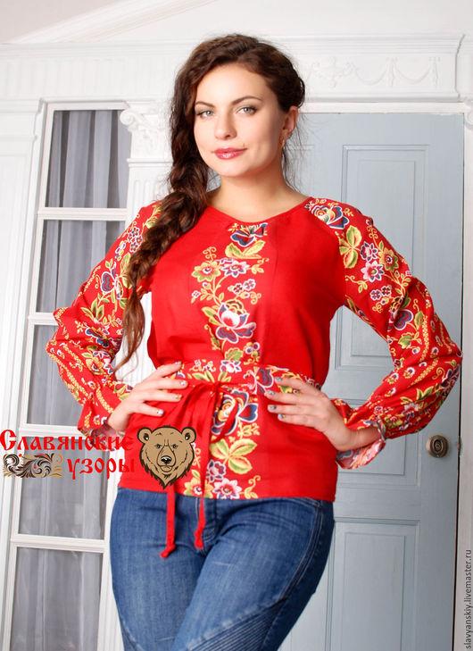 """Блузки ручной работы. Ярмарка Мастеров - ручная работа. Купить Блуза """"Заря"""". Handmade. Ярко-красный, рубашка, хлопковая, цветок"""