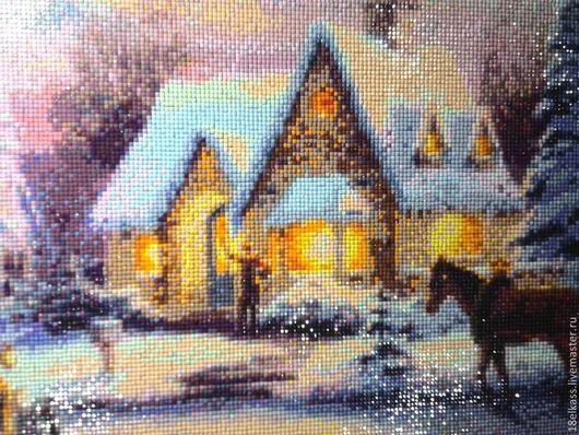 """Город ручной работы. Ярмарка Мастеров - ручная работа. Купить картина в технике алмазная мозаика """"Зимний вечер"""". Handmade. Панно"""