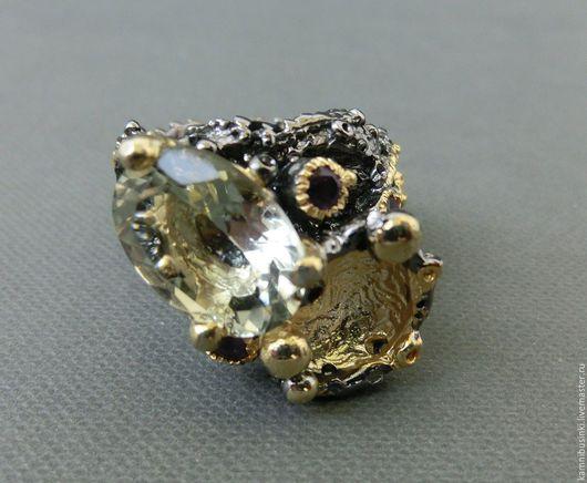 Кольца ручной работы. Ярмарка Мастеров - ручная работа. Купить 19 р-р кольцо зеленый аметист серебро 925 пробы золото. Handmade.
