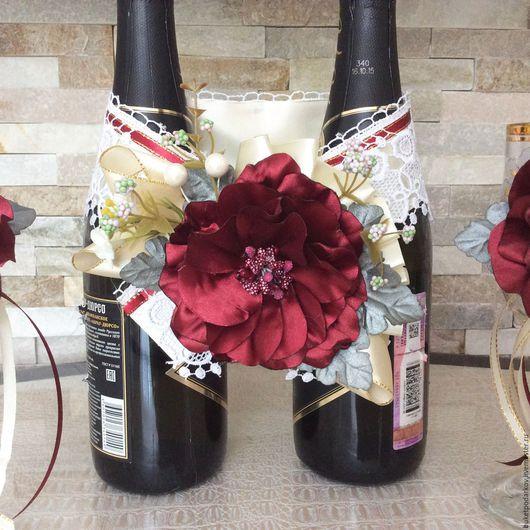 """Свадебные аксессуары ручной работы. Ярмарка Мастеров - ручная работа. Купить Украшение на свадебные бутылки """" Цветок Марсал"""". Handmade."""