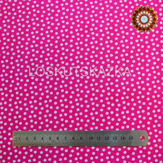Ткань для пэчворка Белый горошек на розовом, хлопок 100%. Код товара: DFS-00005