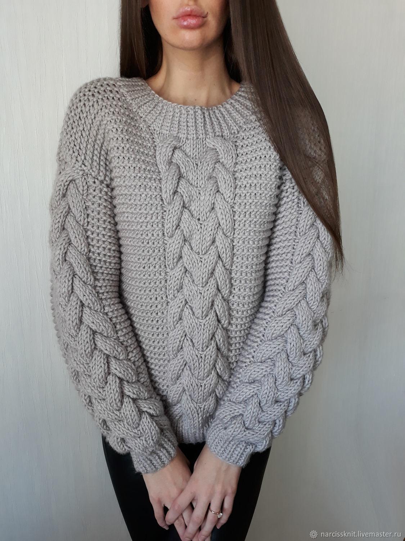 ab47c32f012 Женский свитер крупной вязки с узором – купить в интернет-магазине ...