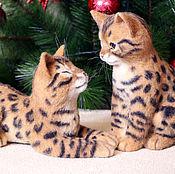 Куклы и игрушки handmade. Livemaster - original item bengal kittens (toys from felt, felting). Handmade.