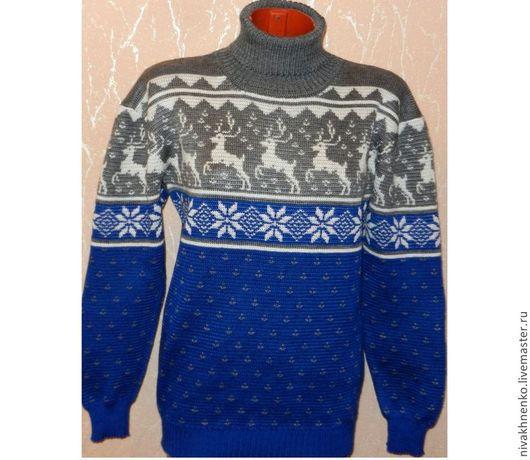 Кофты и свитера ручной работы. Ярмарка Мастеров - ручная работа. Купить Вязаный свитер с оленями (серо-синий). Handmade.