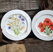 """Посуда ручной работы. Ярмарка Мастеров - ручная работа Тарелочки декоративные """" Луговые травы"""" для дачи. Handmade."""
