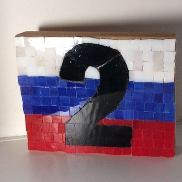 Для дома и интерьера ручной работы. Ярмарка Мастеров - ручная работа Вывески: мозаичный номер для дома. Handmade.