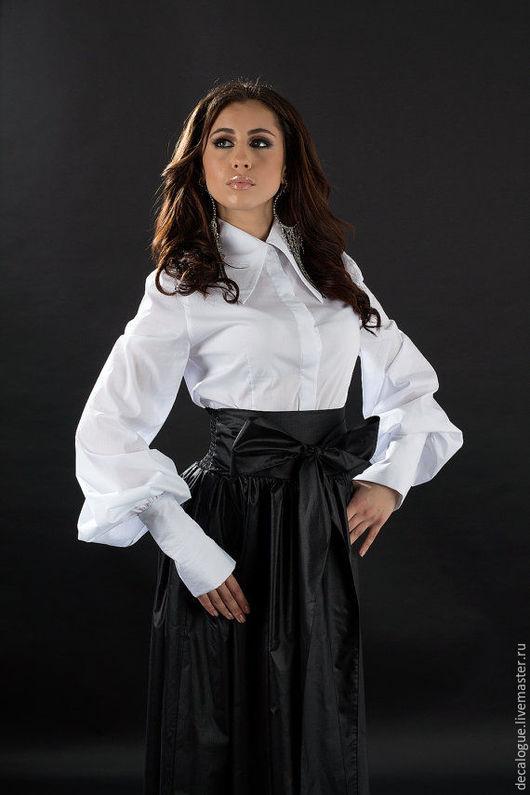 Блузки ручной работы. Ярмарка Мастеров - ручная работа. Купить Белая рубашка с большим воротником. Handmade. Белый, рубашка из хлопка