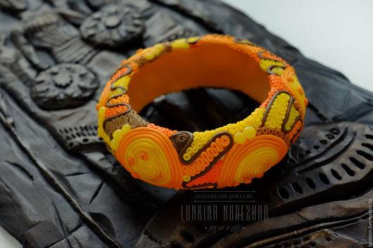 Браслеты ручной работы. Ярмарка Мастеров - ручная работа. Купить Оранжевый этнический большой браслет в технике филигрань. Handmade. Оранжевый
