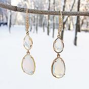 "Украшения handmade. Livemaster - original item Earrings are made of jewelry glass ""White Nights"". Handmade."