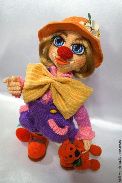 Коллекционные куклы ручной работы. Ярмарка Мастеров - ручная работа. Купить Клоунесса Агнесса. Handmade. Клоуны, вязаная игрушка, пряжа