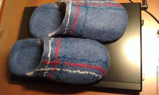 """Обувь ручной работы. Ярмарка Мастеров - ручная работа. Купить Тапочки мужские домашние """" Классика"""". Handmade. Синий"""