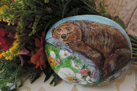 Роспись по камню ручной работы. Ярмарка Мастеров - ручная работа. Купить Медведь роспись на камне. Handmade. Комбинированный