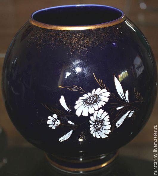 Винтажные предметы интерьера. Ярмарка Мастеров - ручная работа. Купить Красивая, кобальтовая ваза для цветов, ручная роспись, Германия. Handmade.