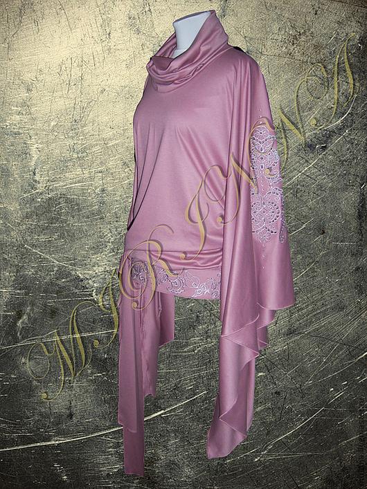 """Кофты и свитера ручной работы. Ярмарка Мастеров - ручная работа. Купить Туника-Пончо """"розовая нежность"""". Handmade. Бледно-розовый"""