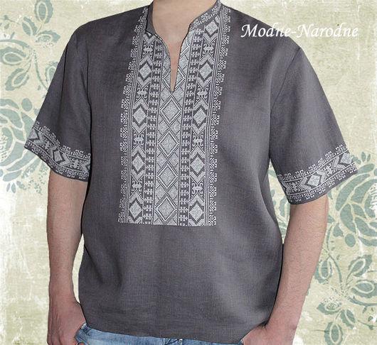 Льняная сорочка с ручной вышивкой Дымка. \r\nМодная одежда с ручной вышивкой. \r\nТворческое ателье Modne-Narodne.