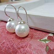 Украшения handmade. Livemaster - original item Hook earrings in minimalism style made of 925 silver and natural pearls. Handmade.