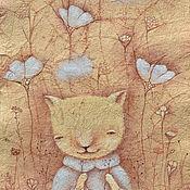 """Картины и панно ручной работы. Ярмарка Мастеров - ручная работа Подарок для девочек. """"О чем мечтает киска"""". Картина-принт на холсте. Handmade."""