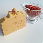 Мыло ручной работы. Ярмарка Мастеров - ручная работа Натуральный твердый шампунь Шафран+Базилик+Шелк. Handmade.