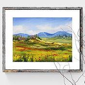 Картины и панно handmade. Livemaster - original item Oil painting Italian landscape with poppies. Handmade.