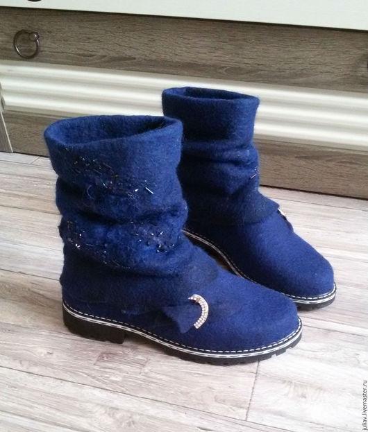 """Обувь ручной работы. Ярмарка Мастеров - ручная работа. Купить Валяные женские туфли-сапоги """"Голос моря"""". Handmade."""