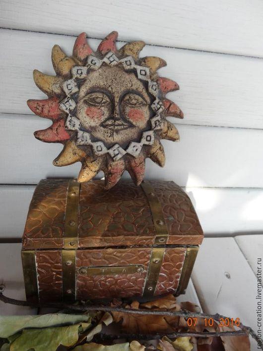 Винтажные предметы интерьера. Ярмарка Мастеров - ручная работа. Купить Солнышко из шамота. Handmade. Коричневый, винтаж, декор для интерьера, шамот
