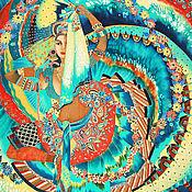 Платок шелковый Батик Индийский Танец