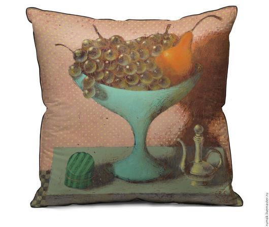 """Текстиль, ковры ручной работы. Ярмарка Мастеров - ручная работа. Купить наволочка """"зеленый виноград в голубой вазе"""". Handmade. Голубой"""