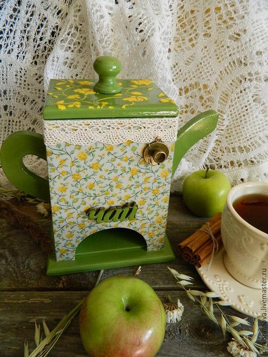 """Кухня ручной работы. Ярмарка Мастеров - ручная работа. Купить Чайный домик """"Ситец"""". Handmade. Зеленый, чай, цветочный рисунок"""