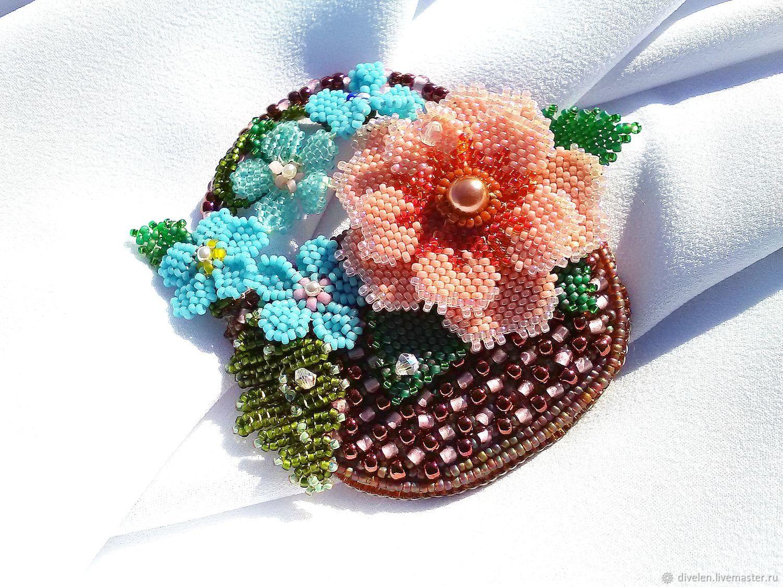 A Basket Of Flowers Brooch Made Of Japanese Glass Seed Beads Kupit Na Yarmarke Masterov G1nj3com Brosh Bulavka Divnogorsk