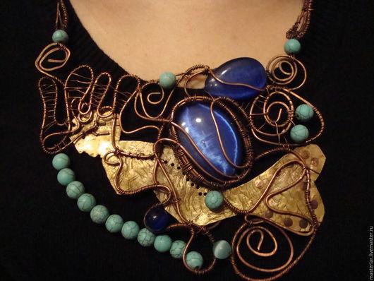 Колье, бусы ручной работы. Ярмарка Мастеров - ручная работа. Купить Колье из меди- жители царства Нептуна. Handmade.