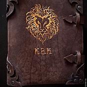 """блокнот для записей из натуральной толстой кожи """"Знак зодиака Лев"""""""