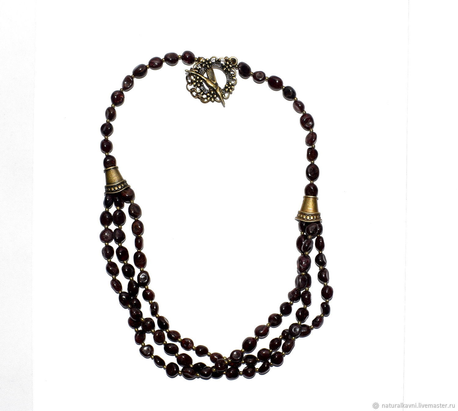 Multi-row necklace made of natural garnet, Necklace, Moscow,  Фото №1