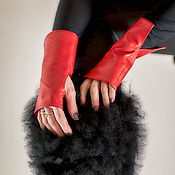 Аксессуары handmade. Livemaster - original item Red gloves for prom and more! Leather mitts. Handmade.