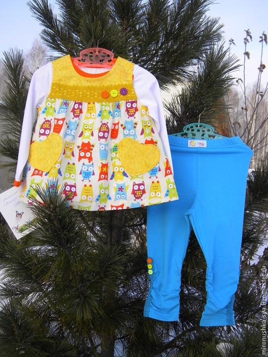 """Одежда для девочек, ручной работы. Ярмарка Мастеров - ручная работа. Купить Комплект """"Совушки"""". Handmade. Рисунок, хлопок США"""