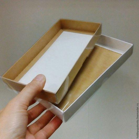 Упаковка ручной работы. Ярмарка Мастеров - ручная работа. Купить Коробка 21х10х2,5 см крафт с прозрачной крышкой. Handmade.