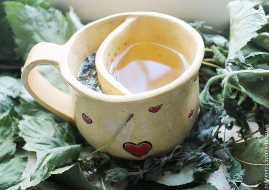 Чайники, кофейники ручной работы. Ярмарка Мастеров - ручная работа. Купить Чашка - чайник 2в1. Handmade. Бежевый